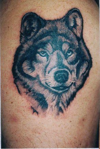 Tatouage de loup aux bons yeux
